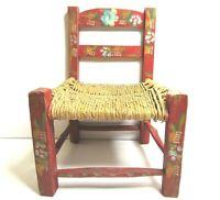 Vintage Childs Wooden Rush Ladder Doll Chair Painted Floral Primitive Folk Art R