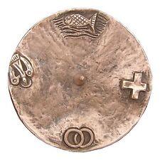 Taufkerzenleuchter 4 Symbole Bronze braun 11,5 cm baptism candle holder