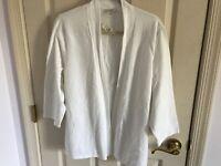 Woman's Talbots plus size 1X white 3/4 sleeve open front cotton blend top