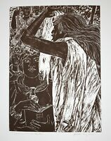 KAPIOLANI Juliette May Fraser 1952 Hawaiian Linoleum Cut Lithograph Print