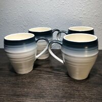 MIKASA SWIRL OMBRE BLUE 16 Oz Large Coffee Mugs Set of 4