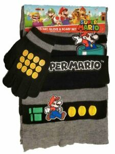 Super Mario Boys Hat Scarf and Gloves Set