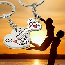 Pair Love Heart Key Ring Keyfob Couples Keychain Lover Valentines Gift