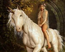 Art HD Print Girl Riding Unicorn Horse Oil painting Printed on Canvas P1000