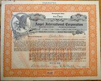 'Angel International Corporation' 1923 Stock Certificate - Maine ME - Orange