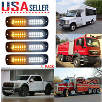 4 x 12 LED Emergency Flashing Warning Beacon Lights Strobe Warning Amber+White