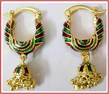 22k 24k Elegant Gold Plated Indian Jewelry Red Green Meena Hoop Earrings Set