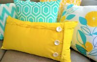 Bright Throw Pillows Yellow, Aqua, Turquoise, Green Colourful Scatter Cushions