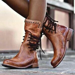 Winter Women Synthetic Leather Mid Calf Boots Lace-up Zipper Thick Heel Boots