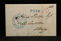 New York: Saratoga Springs 1843 Stampless Cover, Blue CDS & PAID to Albany