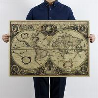 world map nautical ocean map vintage kraft paper poster wall chart sticker-decor