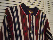 MEN'S DUCK HEAD LONG SLEEVE STRIPED BROWN/WHITE/BLUE/GREEN KNIT SHIRT SIZE LARGE