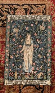 Flora English Pre-Raphaelite Arts Crafts Wall Tapestry (Made in France) 28 x 42