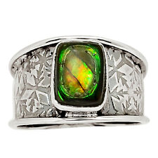 Genuine Canadian Ammolite 925 Sterling Silver Ring Jewelry s.8 31712R