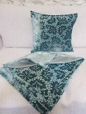 Lovely Cushion Cover, Turquoise, Duck Egg, Patterned Velvet, Faux Silk, Soft.