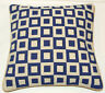 Geometric Design Blue Squares Cushion Cover Needlepoint Tapestry Handmade