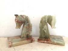 Pair of Vintage Onyx Marble Horse Book Ends
