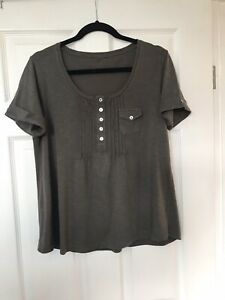 Khaki Green T-shirt With Pleated Front, Size 12