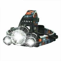 POWER 35000LM 3-Head XML XM-L T6 LED 18650 Headlamp Headlight Head Torch Light