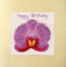"Violet du Phalaenopsis Orchid Flower ""Joyeux Anniversaire"" Cross Stitch Carte Kit 16 ct"