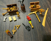 Lego LOT #4 Minifigure Gold Mine Coins Money Bars Treasure Chest Bank Items