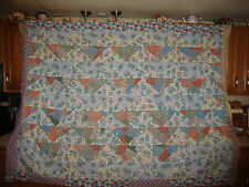 VINTAGE TRIANGLES QUILT TOPPER, VARYING COLORS, FULL SIZE #75