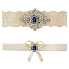 """Ivory Sapphire Blue Wedding Bridal Garter Set Keepsake Toss Small 16"""" - 17"""""""
