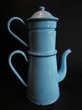 GRANDE CAFETIERE TOLE EMAILLEE BLEU CIEL / CLAIR  / BLUE COFFEE POT ENEMALLED