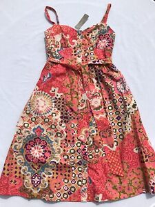 NWTs J. Crew Colorful 1950's Style Party Sundress sz 0 Petite