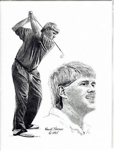 """John Daly Limited Edition Pencil Drawing 8.5"""" x 11"""" Print By Frank Nareau 1995"""