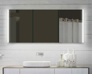 Alu Badezimmerspiegelschrank Led Beleuchtung warm- kaltweiß von 60-160 cm Breite