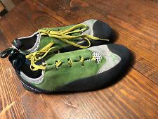 Evolv Trax Rock Climbing Shoes Women's 10 Black Green Lace Rubber