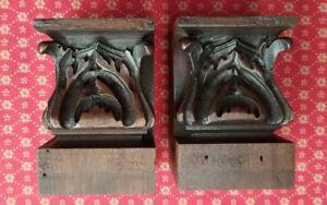 A PAIR OF ANTIQUE FRENCH HAND CARVED WALNUT DECORATIVE CARVINGS - c1900