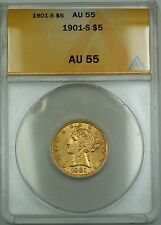 1901/0-S 5 Dollar $5 Overdate Liberty Head Gold Coin ANACS AU-55