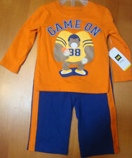 "INFANT/BABY BOYS  2PC ""GAME ON "" OUTFIT SIZE 12 MONTHS   NWT"