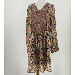 Tolani Dress Silk Shift Long Sleeve Split Neck Popover Printed Size Medium