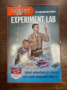 1950'S GILBERT CHEMISTRY EXPERIMENT LAB TIN BOX, Vials, Instructions.