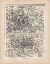 1900 MAPPA Vittoriana ~ Vienna Wien DINTORNI Città Roma piano edifici pubblici