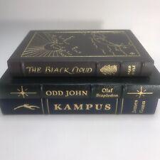 Easton Press Sci Fi Book Lot; Kampus, The Black Cloud, and Odd John w/ Inserts