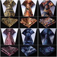 "Floral 3.4"" Silk Wedding Mens Extra Long Tie XL Necktie Handkerchief Set #Q6"