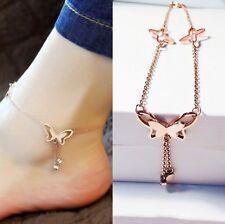 Butterfly Tassel Rose Gold Titanium Steel Chain Barefoot Sandals Ankle Bracelet