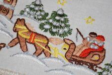 CHRISTMAS CHURCH & HORSE DRAWN SLEIGH RIDE! GERMAN TABLECLOTH + RUNNER BIRDS
