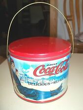 Vintage Coca Cola Old Fashioned Ladies at Beach Lidded Wire Handle Round Tin Can