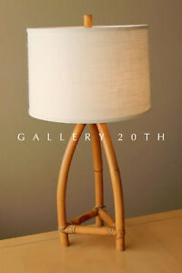 AWESOME! MID CENTURY MODERN BAMBOO TABLE LAMP! VTG 50'S SOUTH PACIFIC LIGHT TIKI