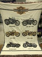 Harley Davidson Vintage Woven Tapestry Throw Blanket  - Motorcycle Print 65x46