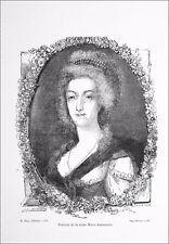 PORTRAIT de la REINE MARIE-ANTOINETTE - Gravure du 19e