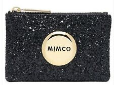 MIMCO Genuine SPARKS FLY BLACK SMALL POUCH WALLET PURSE BAG Gold Button RRP $50