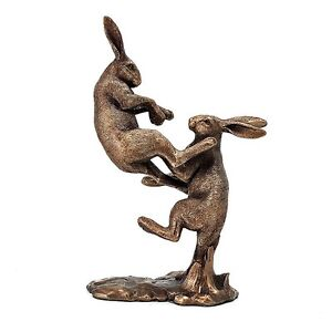 Reflections Bronzed Pair Fighting Hares Leonardo Collection  lp40953 Ornament