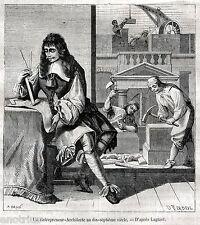 Architetto Imprenditore, Muratori e scalpellini nel 1600. Stampa Antica. 1882
