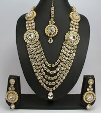 Gold Plated Kundan Polki Wedding Ethnic Rani Haar Necklace Set Wedding Indian